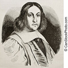 De Fermat - Pierre de Fermat old engraved portrait, French...