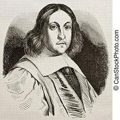 De Fermat - Pierre de Fermat old engraved portrait, French...