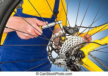 de fiets van de berg, rem, caliper, montage