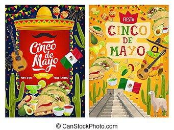 de, flag., gitarre, mayo, cinco, mexikanisch, sombrero