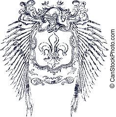 de, fleur, escudo, lis, clássicas