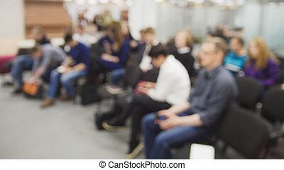 de-focused, -, 很多, 在中, 人们坐, 在, a, 讨论会, 或者, 讲课, -, 背景