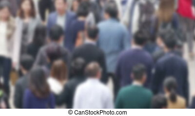 De Focused Crowd In The Asian city. - Blurred crowd of asian...