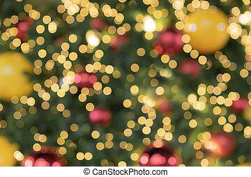 de focused glittering lights of Christmas Tree Bokeh background