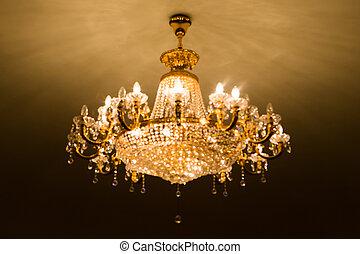 De focused of big crystal chandelier