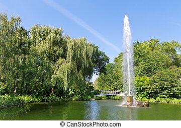de, fontijn, in de stad, park., europa, baden-baden