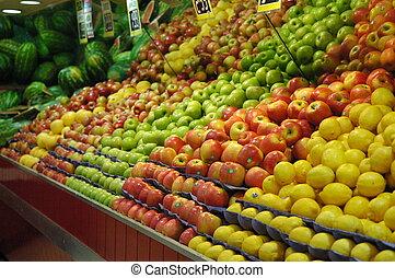 de, fruit, winkel