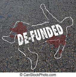 De-Funded Losing Financing Lose Money Chalk Body Outline Illustration