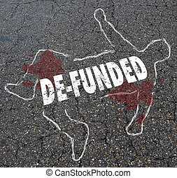 de-funded, perder, financiamiento, perder, dinero, tiza, cuerpo, contorno, ilustración