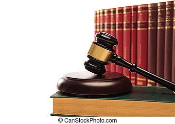 de gavel van rechter, op, een, wet boek