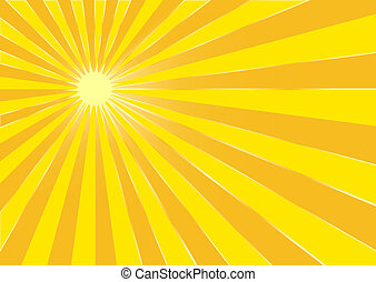 de, gele, zomer, zon