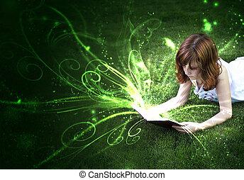de, genoegen, van, lezende , een, wereld, van, fantasie, en,...