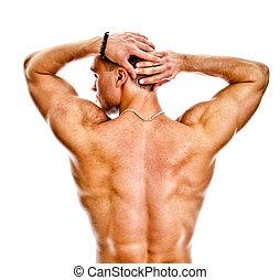 de, gespierd, bodybuilder, back., vrijstaand, op, white.