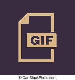 de, gif, icon., bestand, formaat, symbool., plat
