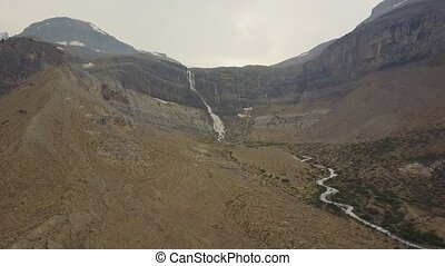 de gletsjer van de boog, dalingen, nationaal park banff, alberta, canada