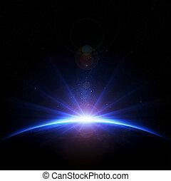 de gloed van de lens, stralen, zonopkomst, aarde