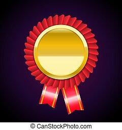 de, gouden, badge, medaille, met, rood lint