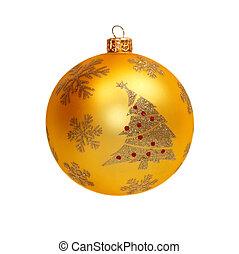 de, gouden, kerstmis bal, vrijstaand, op wit
