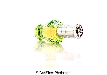 de, groene, parfum, bottle.