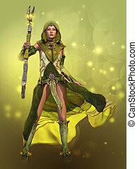 de, groene, sorceress, 3d, cg