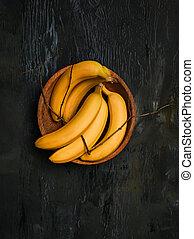 de, groep, van, bananen