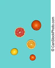 de, groep, verse vruchten, tegen, blauwe achtergrond