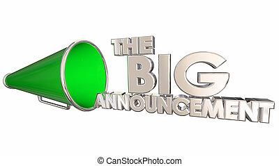 de, groot, aankondiging, nieuws, update, bullhorn, megafoon, 3d, illustratie