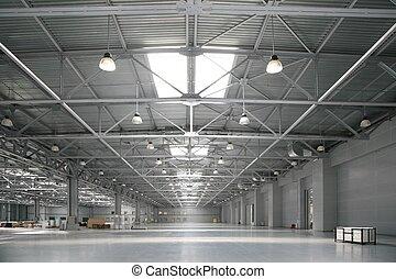 de, groot, magazijn, van, winkelcentrum