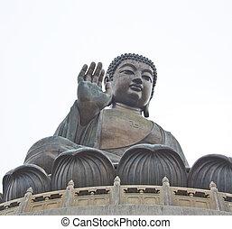 de, grote boeddha, in, hong kong, lantau, eiland