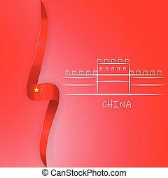 de, grote muur van china, met, chinees, flag., china, politiek, illustratie, concept.