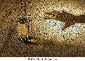de, hand, het reiken naar, fles, van, alcohol