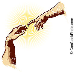 de, handen, van, creatie, religie, vector, illustratie