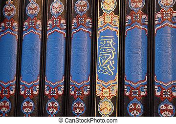 de, heilig, quran, boekjes , in, een, moskee