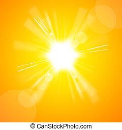 de, helder, gele zon