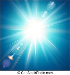 de, heldere zon, shines, op, een, blauwe hemel, achtergrond.