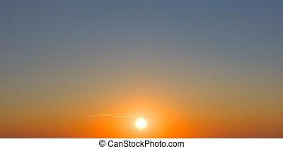 de hemel van de zonsondergang, de, zon