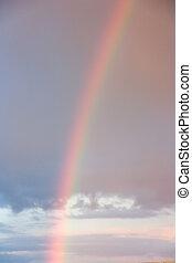 de hemel van de zonsondergang, en, een, regenboog
