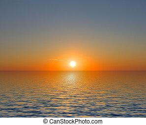 de hemel van de zonsondergang, zee