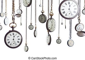 de horloges van de zak, op, ketting, vrijstaand