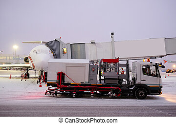 de-icing machine at the airport - Moscow, Russia, February,...