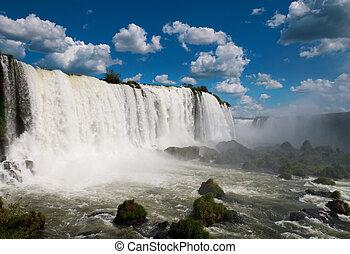 de, iguazu, waterfalls., argentinië, brazilie, zuid-amerika