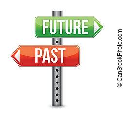 de, ilustração, sinal, passado, futuro, ou