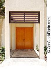 de, ingang, in, arabische stijl, moderne, villa, op, luxe, hotel, abu dhabi, uae