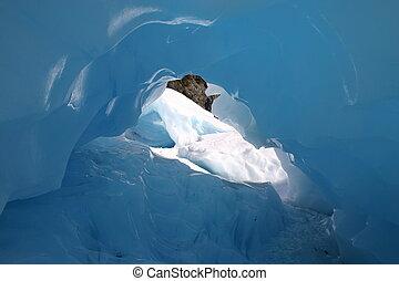 de, interieur, van, een, blauw ijs, grot, op, nieuw, zealands\', vos, gletsjer