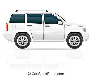 de, jeep, coche, ilustración, suv, vector, camino