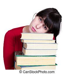 de, jong meisje, met, boekjes