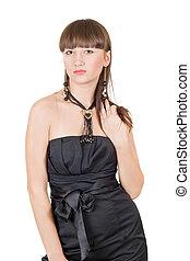 de, jonge, beauty, vrouw, in, een, zwarte jurk