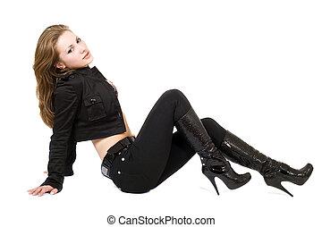 de, jonge, mooie vrouw, in, black , suit., vrijstaand