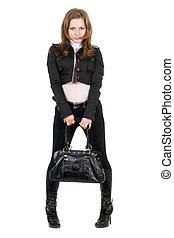 de, jonge vrouw , in, een, black , suit., vrijstaand