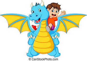 de, jongen, spelend, met, de, groot, blauwe , draak, en, informatietechnologie, groenteblik, produceren, de, vuur